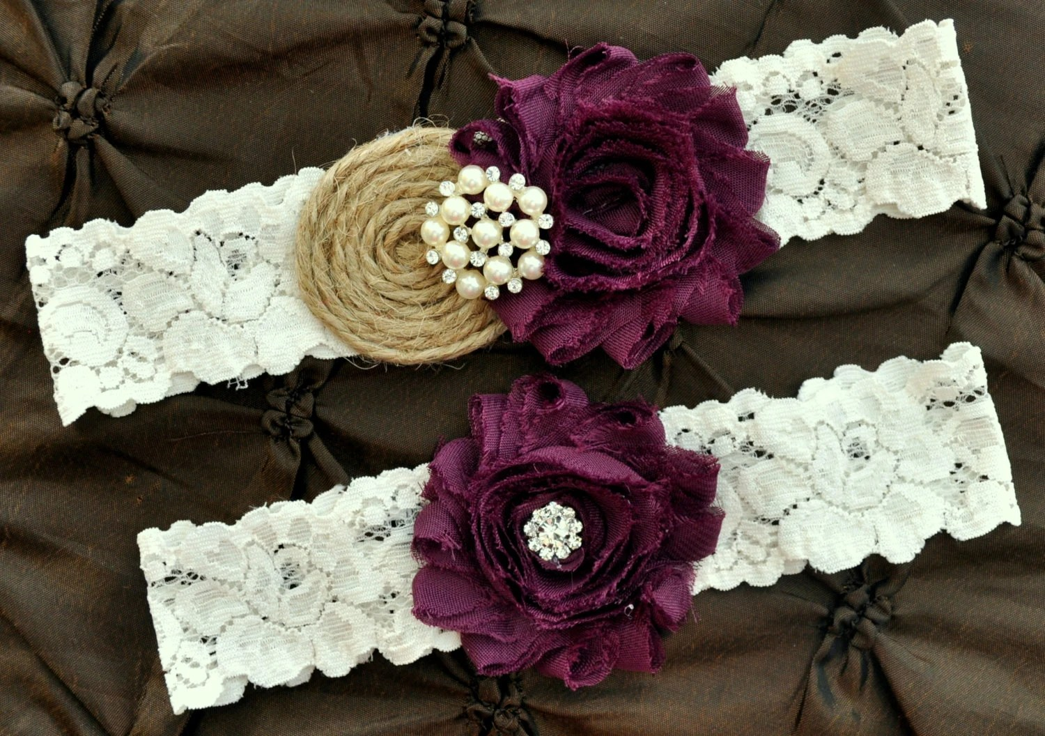 Burlap Rustic Wedding Garter Set Bridal By HayesStreetBridal