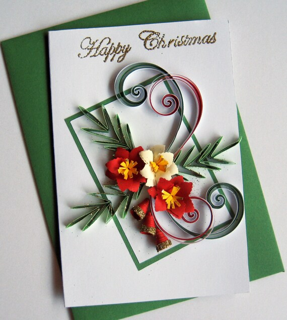 Happy Christmas Card Handmade Quilled Christmas Flowers