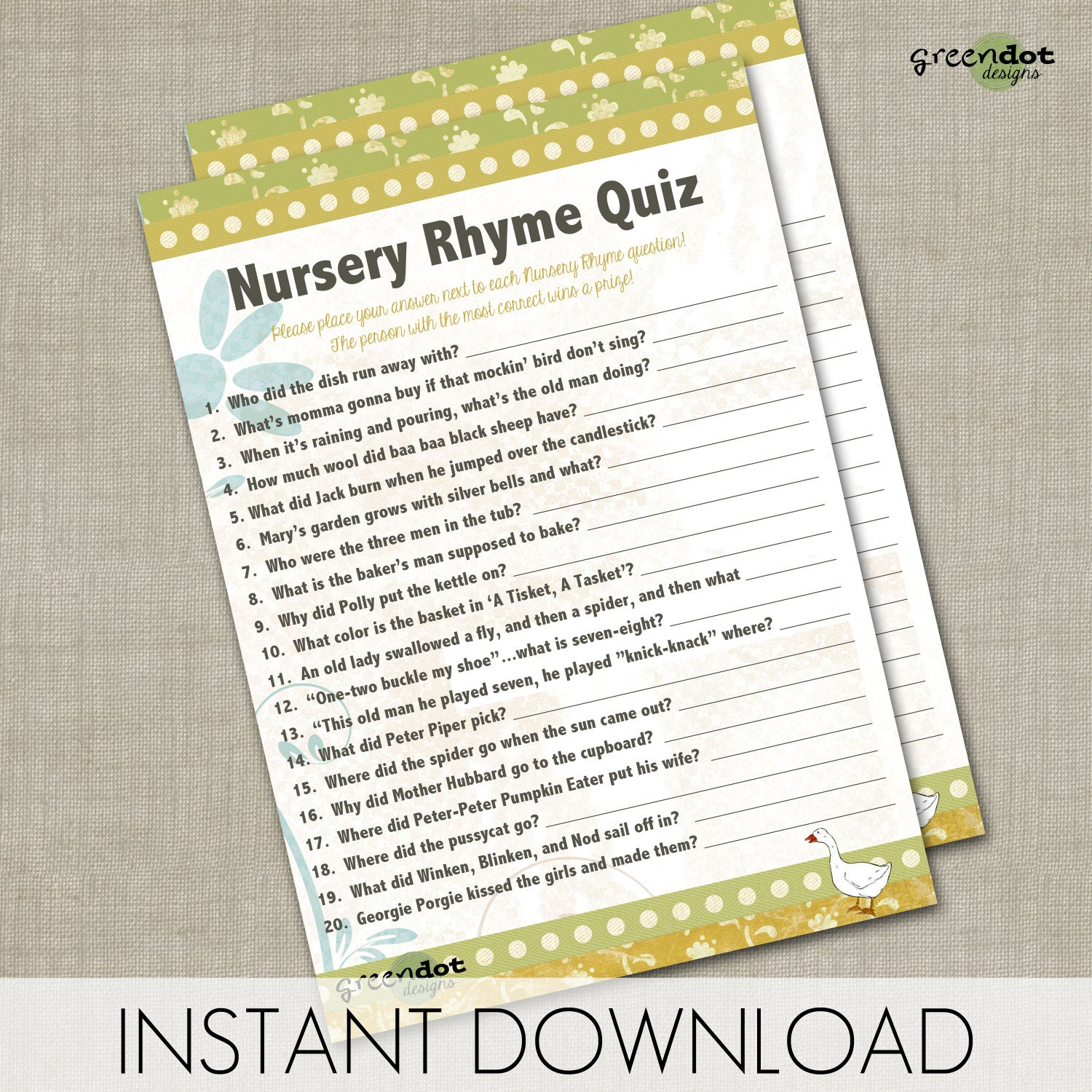 Instant Download Nursery Rhyme Quiz Baby Shower By