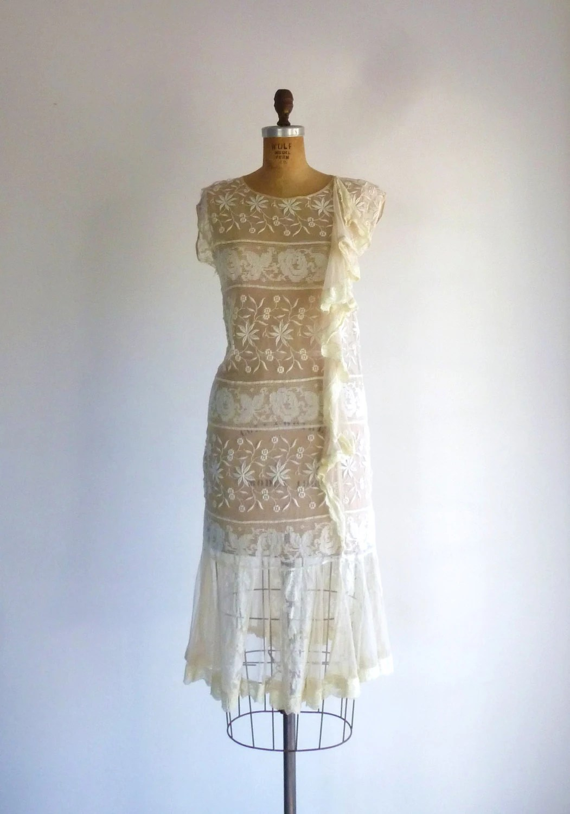 Ivory Lace 1920s Dress Drop Waist Great Gatsby Flapper Wedding