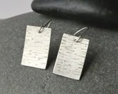 Silver Birch Bark Earrings - Unique hammered silver rectangular earrings