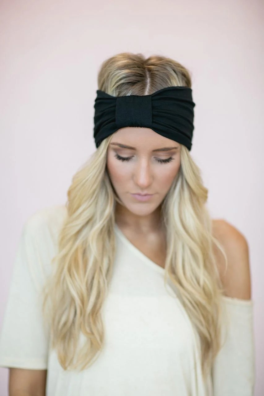 Black Turban Headband Stretchy Turband Style Women's Fashion Hair Bands the Sparrow Style (HB-164)