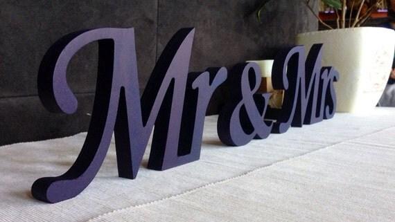 Centerpice MR & MRS Royal Blue Wood Sign Wedding By SunFla
