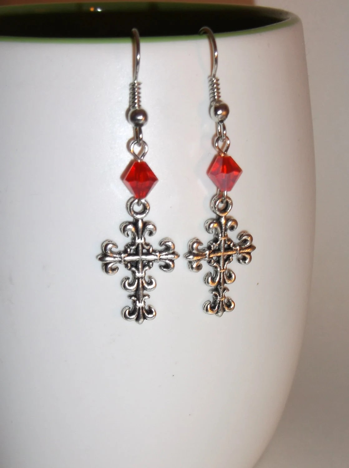 Cross Earrings, Red Bicone Bead, Gothic Style Dangles, Antique Silver, Fall Trends, Christmas Trends, Fleur de Lis - JustAddJewelry