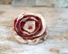 Large cream and maroon flower pin  --- OOAK Fabric Flower Brooch ---  Fabric Jewlery --- TAGT team