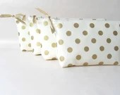 Bridesmaids clutch, gold bridesmaids gift ideas, gold cosmetic bag, gold wedding, gold polka dot, unique bridesmaids