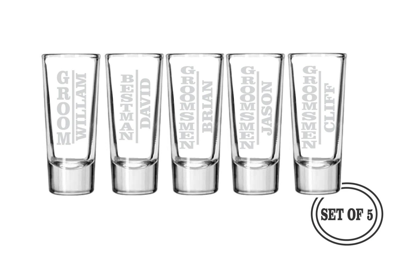 5 Personalized Shot Glasses Groomsmen Favor Ts Wedding