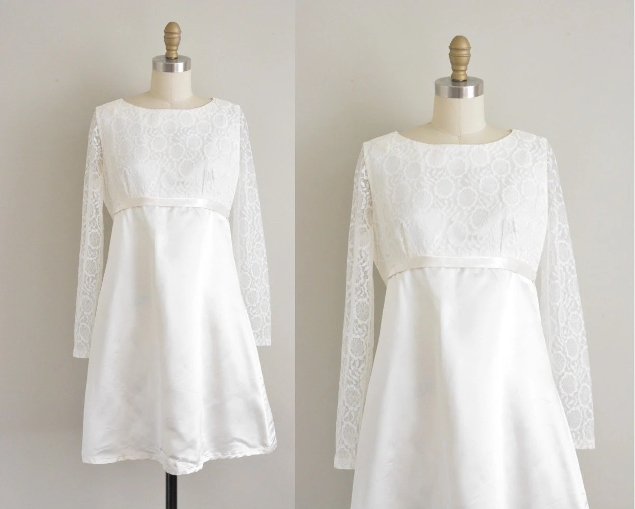 Vintage 1960s White Satin Wedding Dress / 60s Satin And Lace