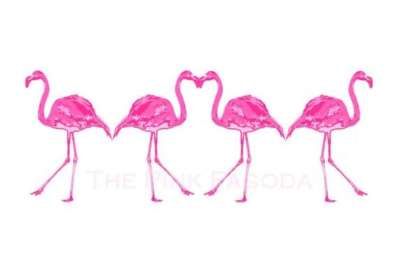 Palm Beach Chic Hot Pink FourFlamingos Giclee 13x19