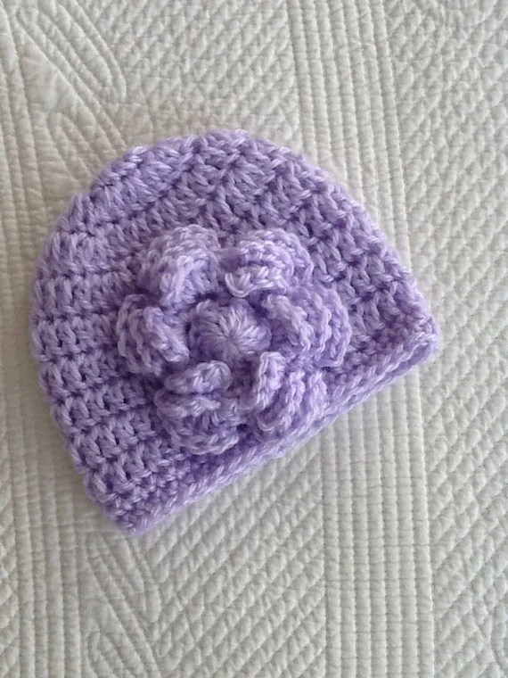 Newborn Baby Girl Vintage-Look Soft Lavender Crochet Hat with Flower, Baby Lavender Hat, Photo Prop, Valentine's Day Baby Hat