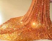 "Golden  Lace Trim wide for Wedding Dress Costume Fabrics Golden Gauze  Melon Seeds Golden Sequins Lace Fabric 53.15"" Width 1 yard - whtstore"