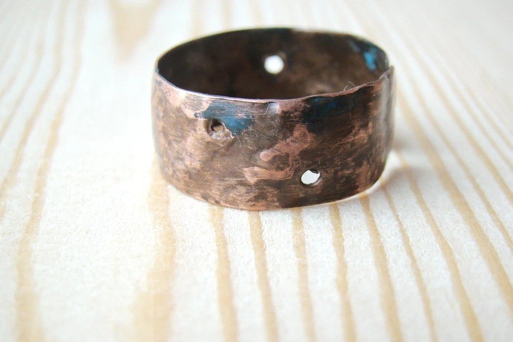 Cool Antique Mens Ring Hammered Copper Jewelry Wide Ring