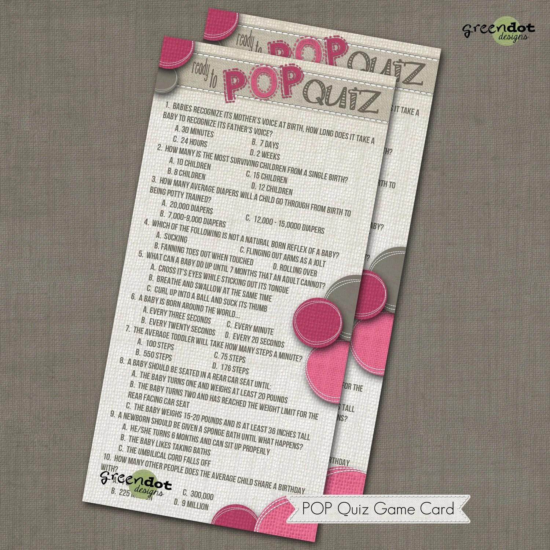 Instant Download Ready To Pop Quiz Baby Shower By Greendotdesigns