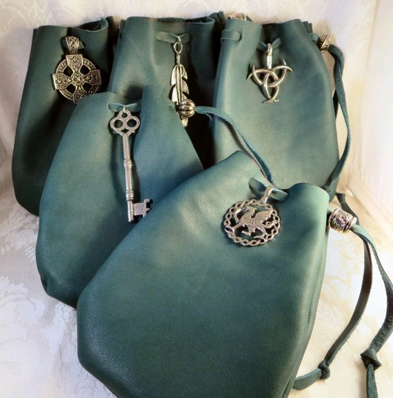 Green Leather Drawstring Pouch Pewter Accent