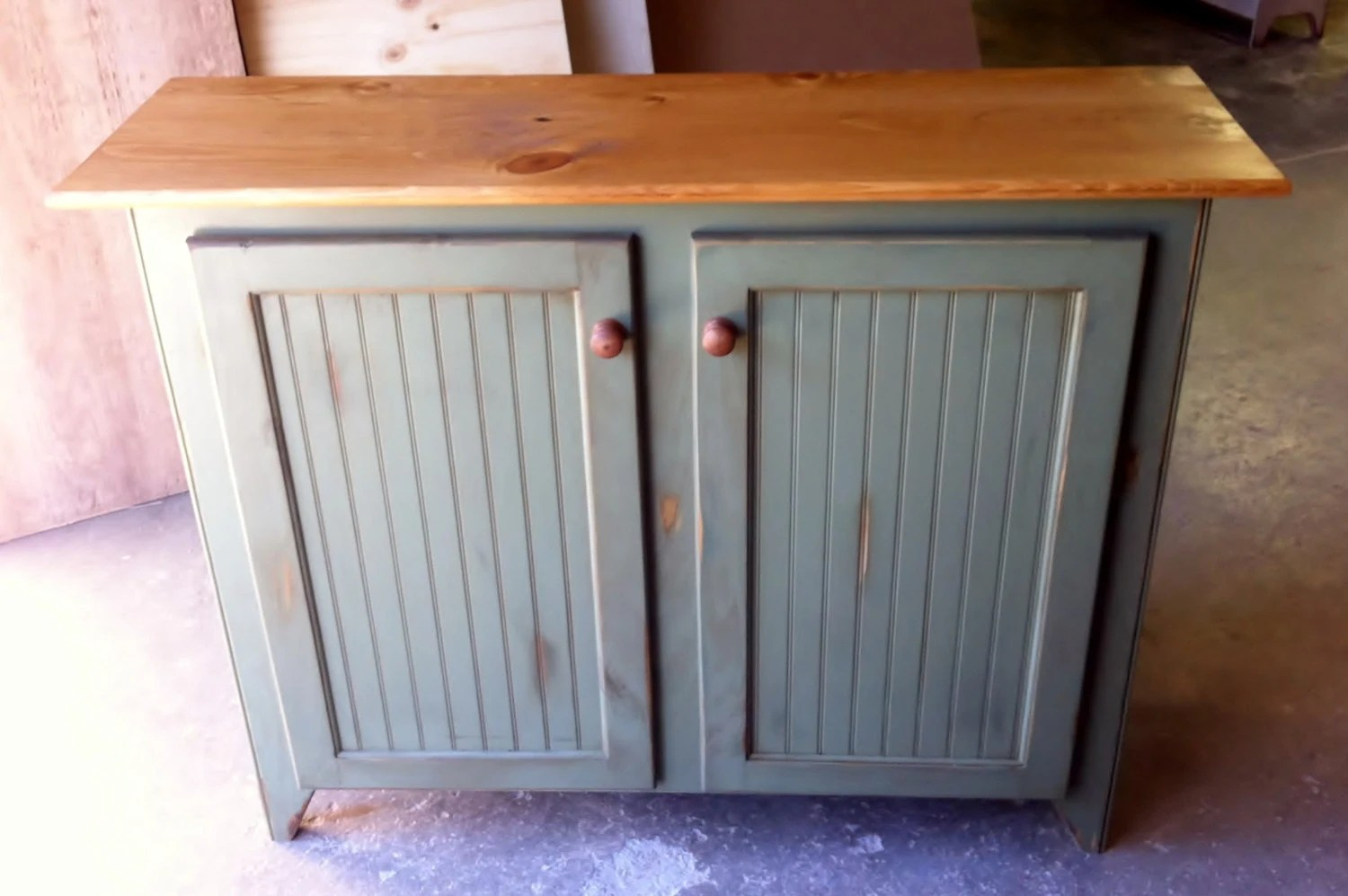 Rustic Handcrafted Wood Buffet Cabinet With Bead Board Panels