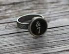 Typewriter Key Oak Leaf Ring Number Seven