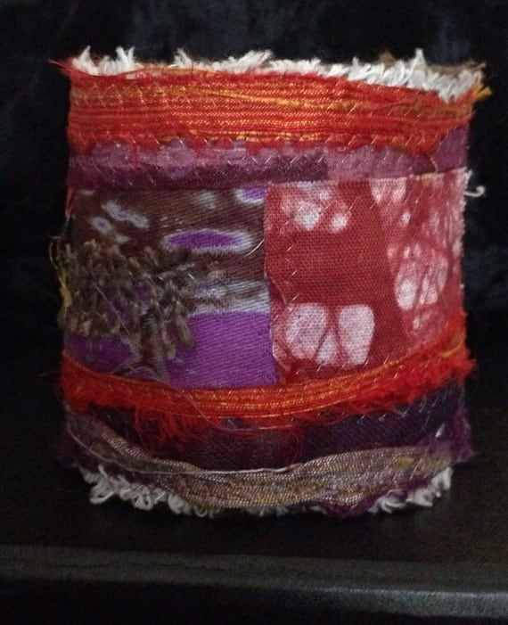 Fabric jewelry  textile art cuff red and purple bangle bracelet S2