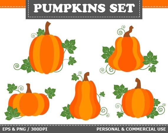 70% OFF SALE 5 Digital Pumpkins Clip Art Autumn Halloween