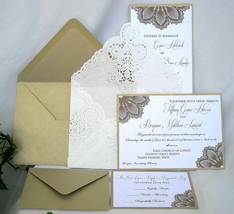 Wedding Invitation Elegant Unique Gold Metallic And White