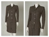 ORIGINAL VINTAGE 1940s 50s Black Skirt and Jacket Suit with Hand Painted Pink and Gold Polka Dots / Xsmall / Waist 25""