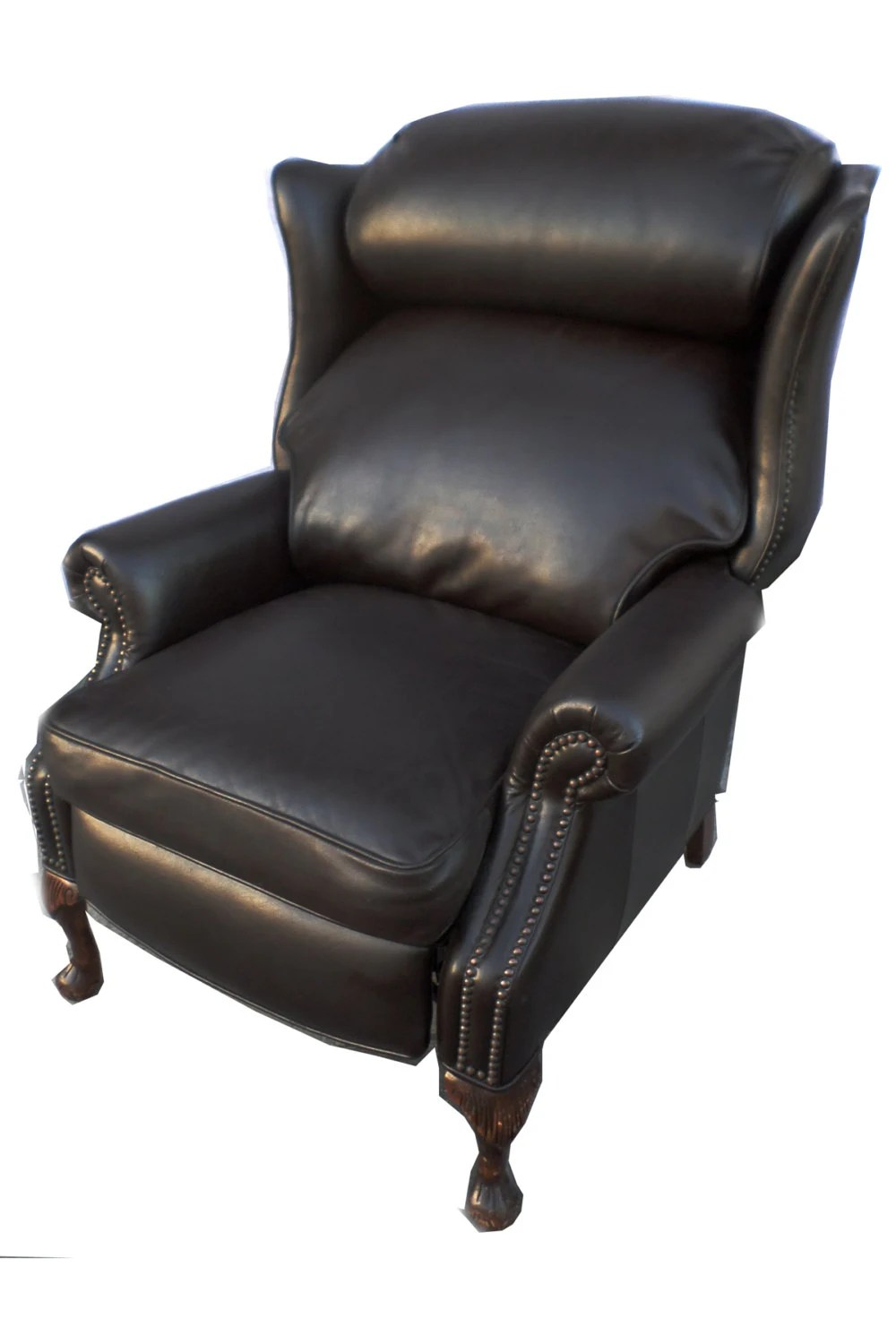 chesterfield leather wing back recliner hollywood regency