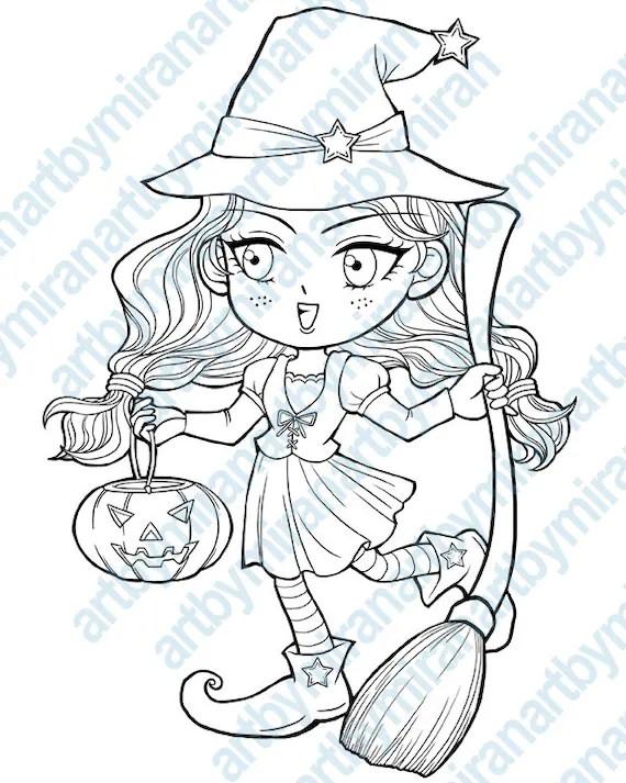 Halloween Digital Stamp Trick Or Treat Witch By Artbymiran