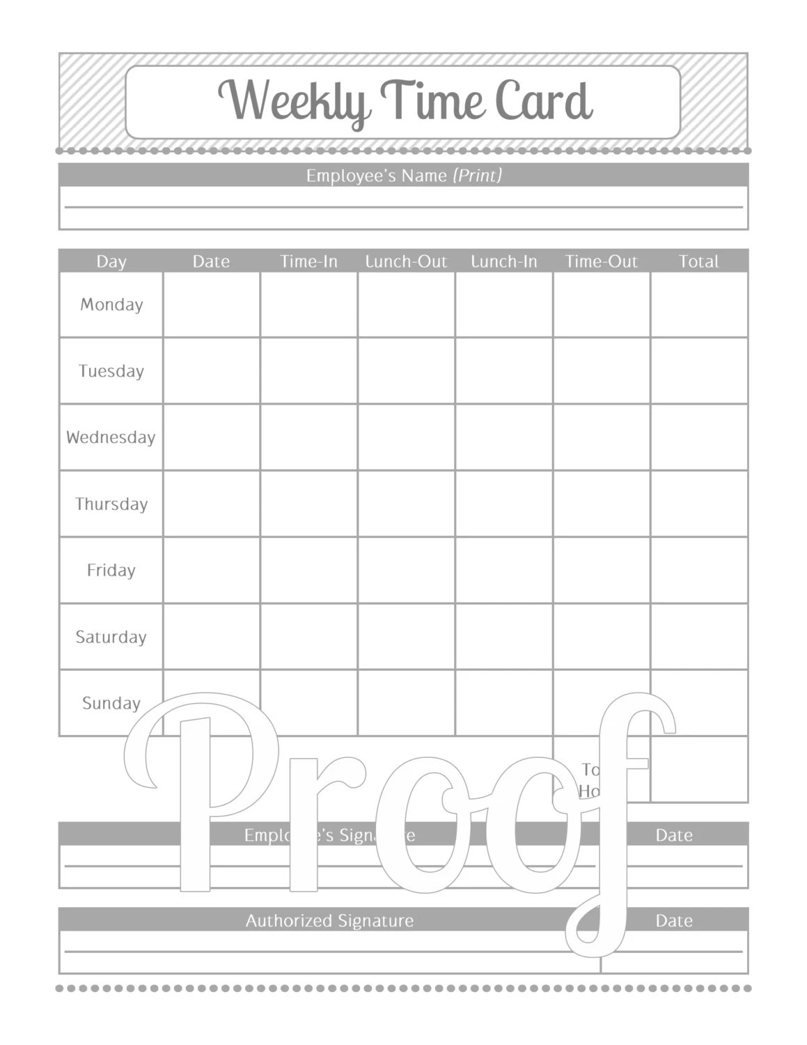 Weekly Time Card Grey And White Instant By