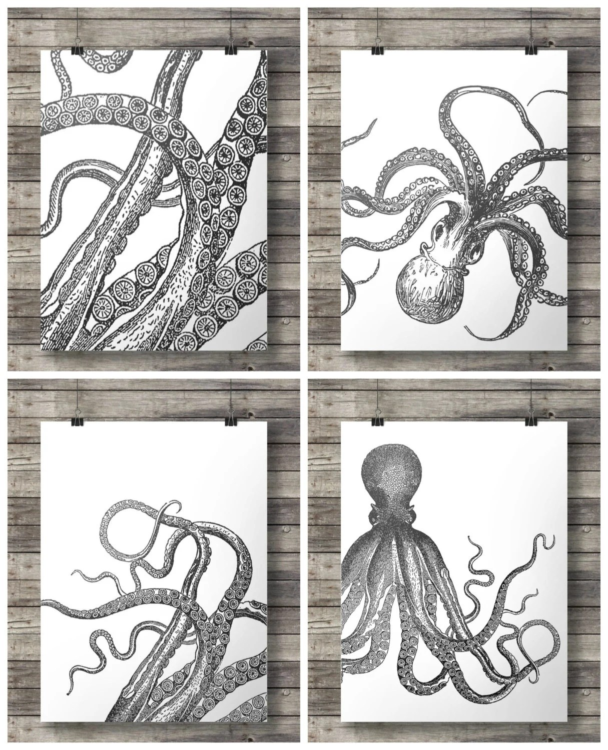 Nautical Vintage Octopus Prints Black And White Graphic Set