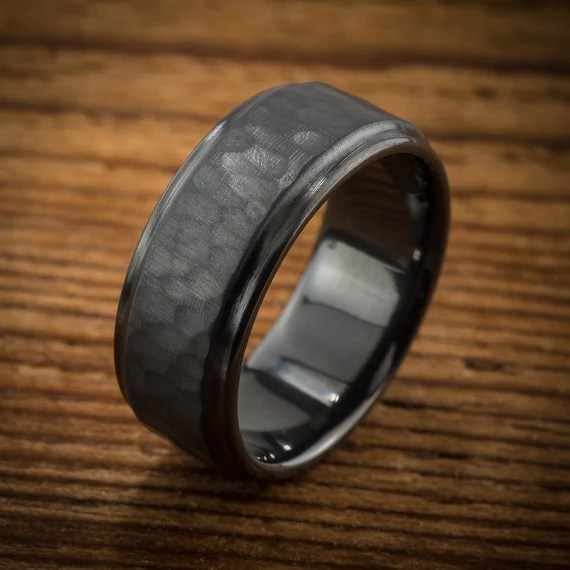 Mens Wedding Band Comfort Fit Interior Hammered Black