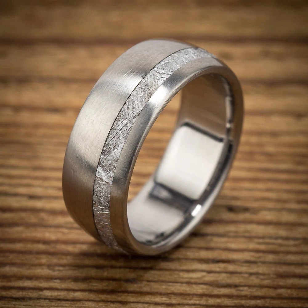 Meteorite Titanium Mens Wedding Band Offset Stripe