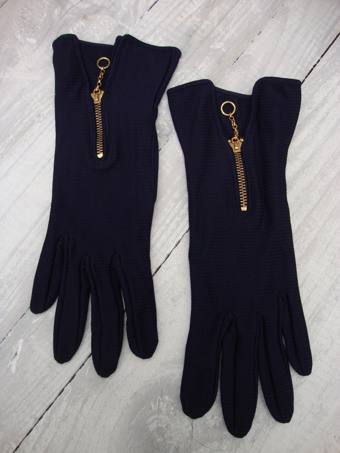 Leather driving gloves with zipper - Vintage Van Raalte Picnit Navy Blue Knit Zipper Accent Gloves Driving