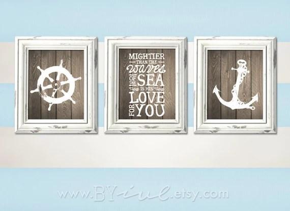 nursery nautical theme ship wheel psalm 93:4 anchor room