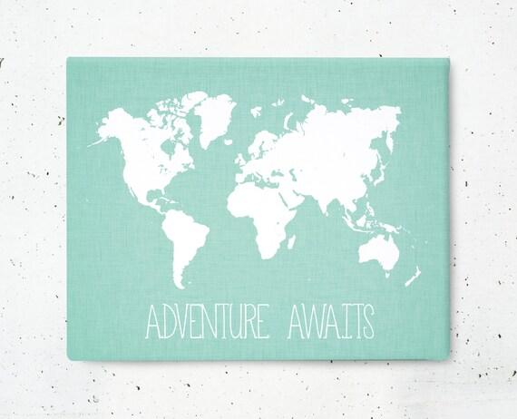 Adventure Awaits World Map Canvas Art Print Nursery By