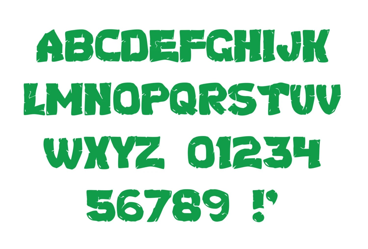 Tmnt Inspired Digital Green Letters And Numbers