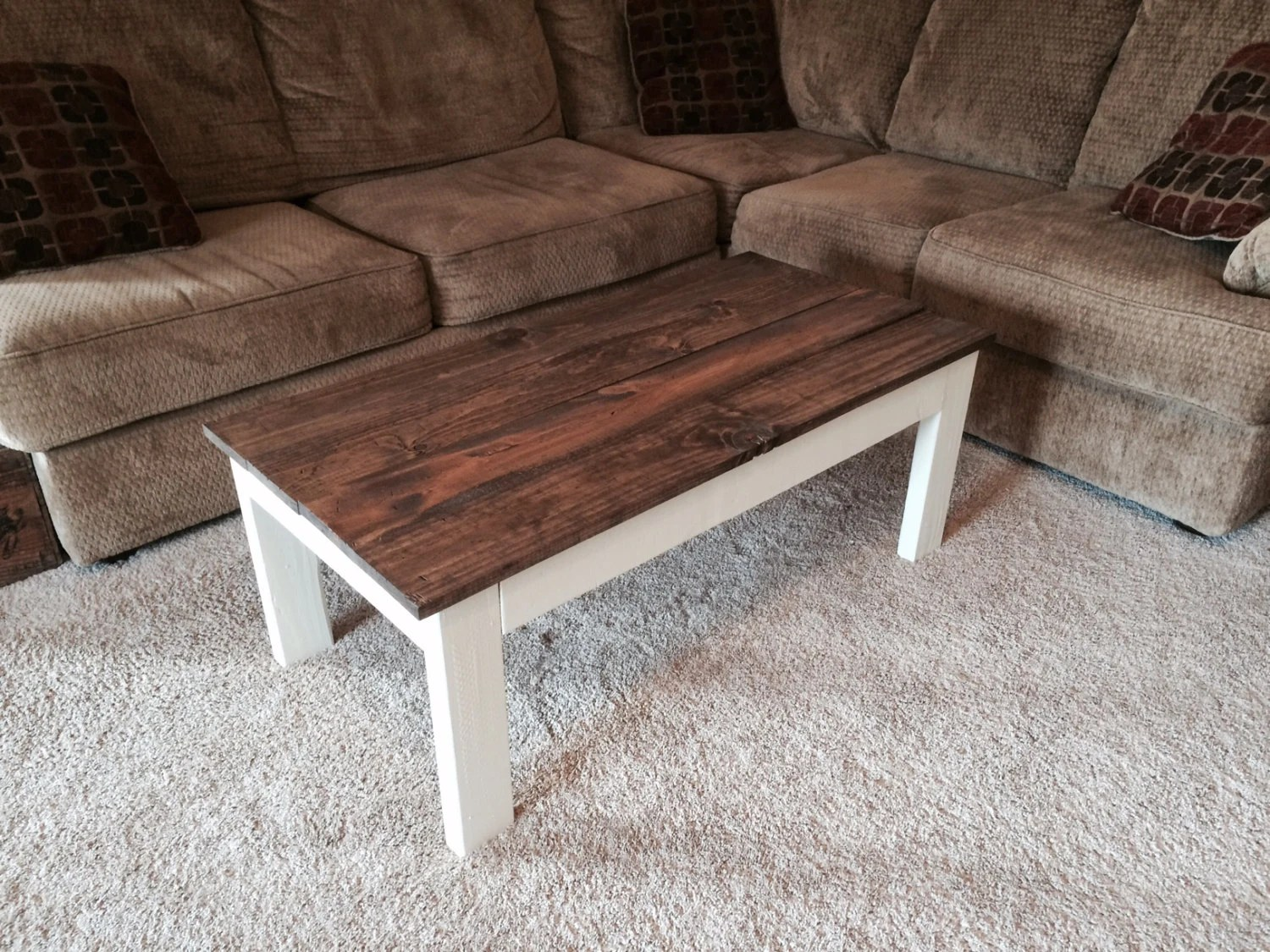 Distressed Rustic Coffee Table. Antique White Base And