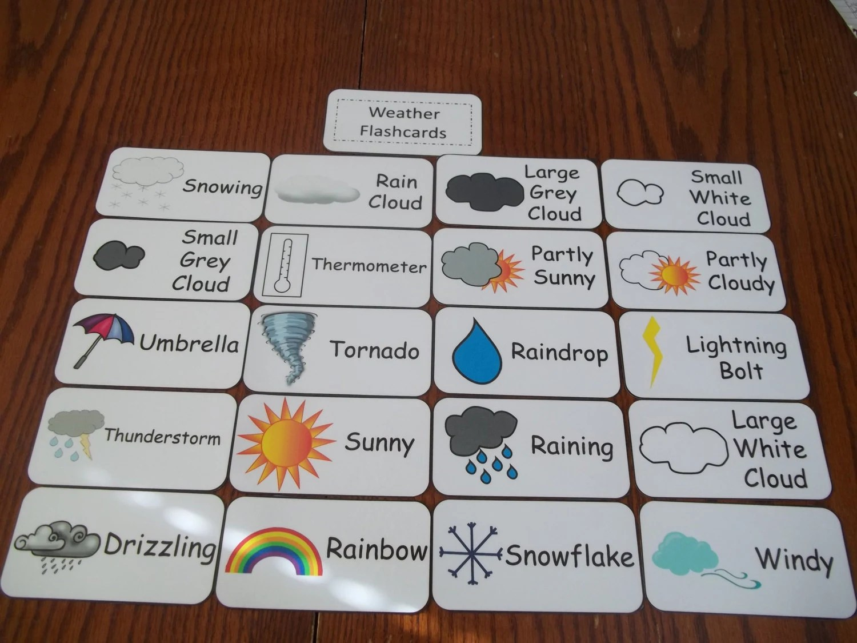 20 Weather Picture Word Flash Cards Preschool Thru Third