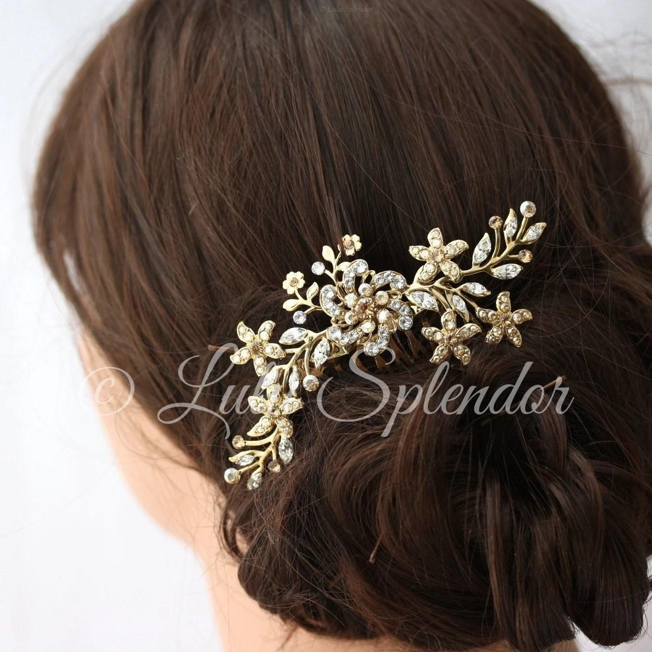 Gold Bridal Hair Comb Flower Comb Vintage Leaves Wedding Hair