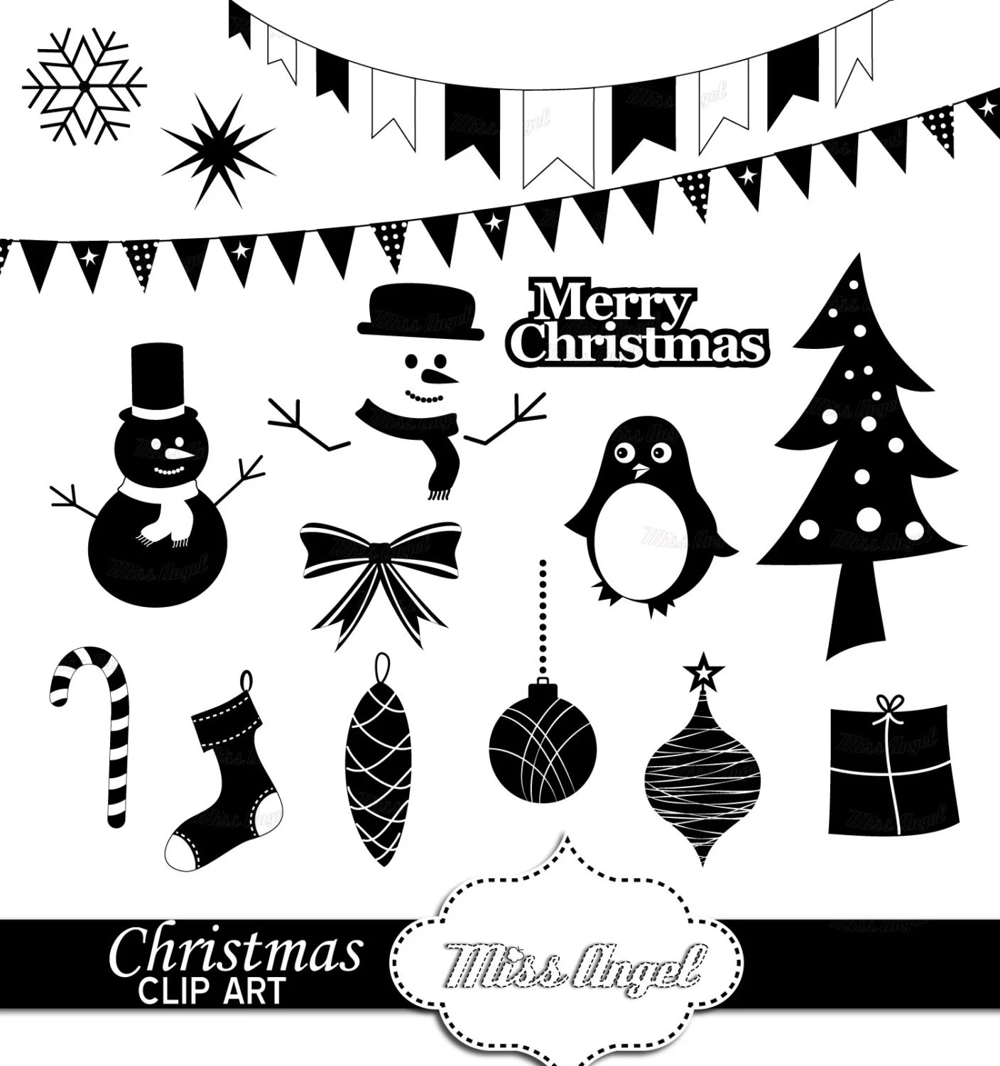 Christmas Clipart Silhouettes 16 Digital Xmas Printables