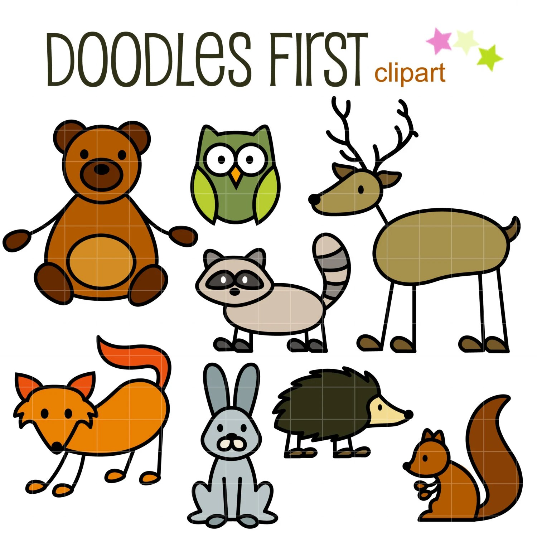 Stick Forest Animals Doodles Digital Clip Art For Scrapbooking