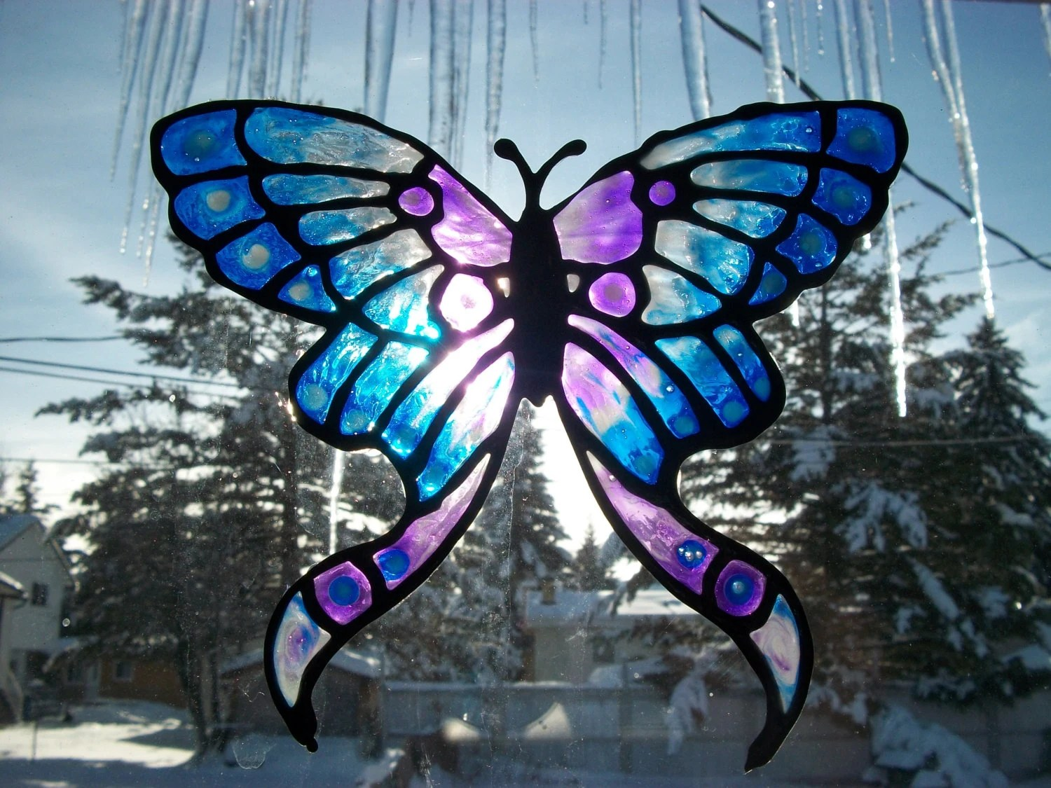 Butterfly Window Cling Suncatcher Stained Glass Painting To