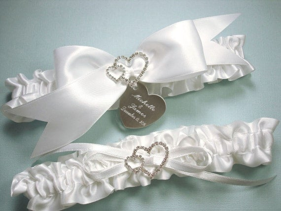 White Wedding Garter Set Personalized Satin Garters With