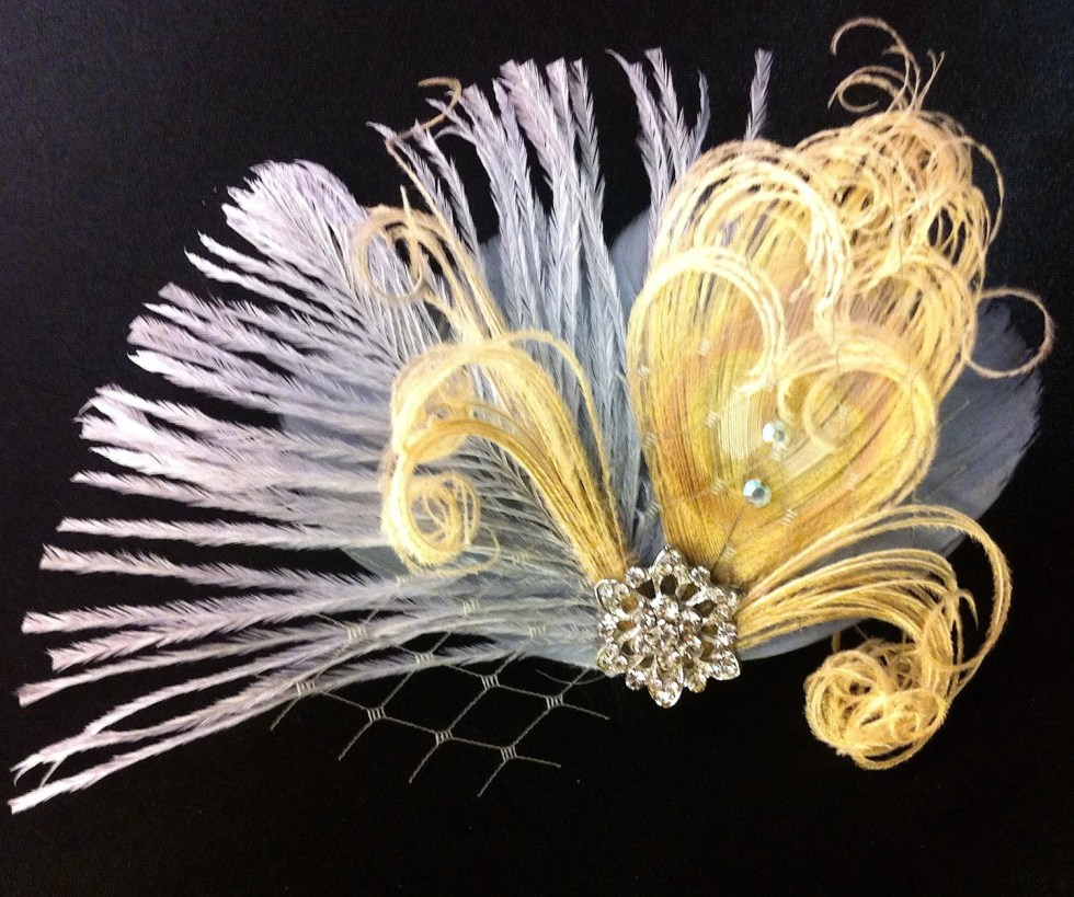 Peacock Hair Clip, Bridal Head Piece, Peacock Feather Fascinator, Wedding Hairpiece, Great Gatsby, Champagne and Grey