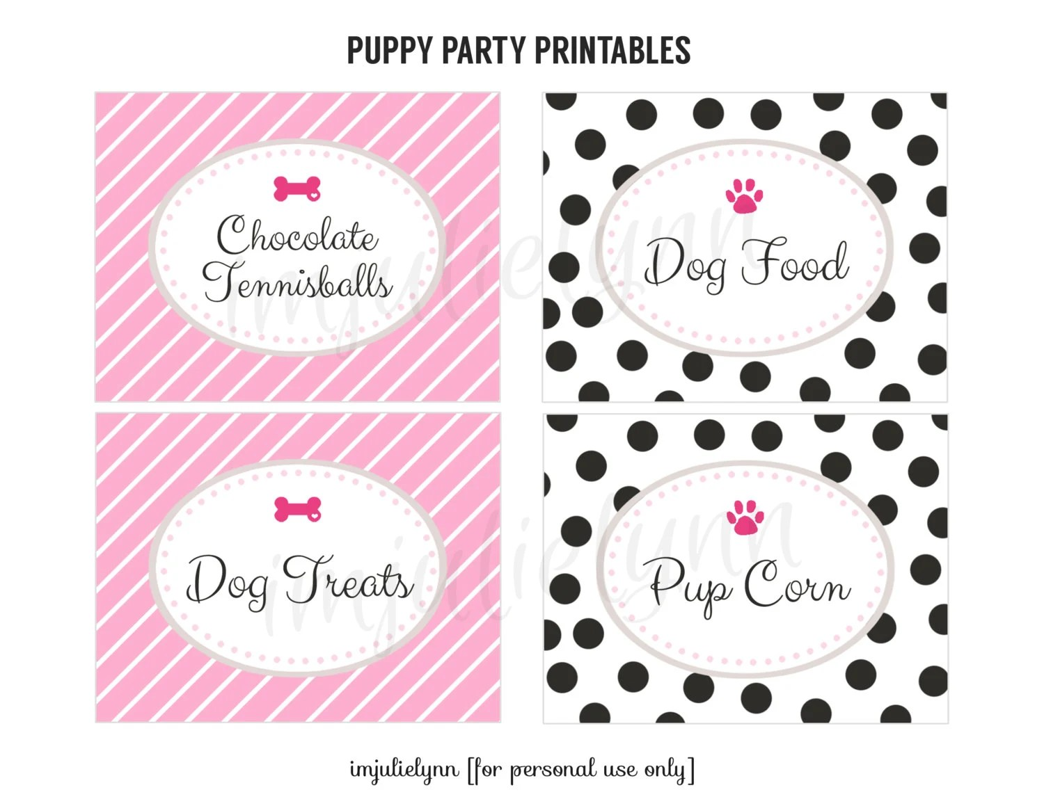 Puppy Birthday Party Printable Food Labels Pink Dog Party