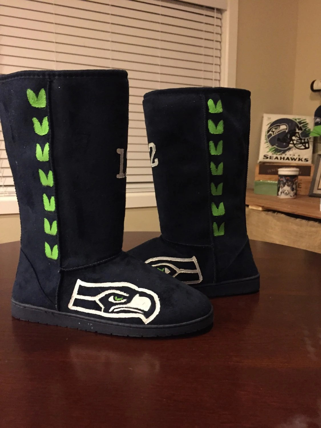 Seahawks Boots By Brookescustomshoes On Etsy