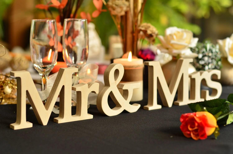 Wedding Sign Mr & Mrs Wedding Decor Freestanding Wooden