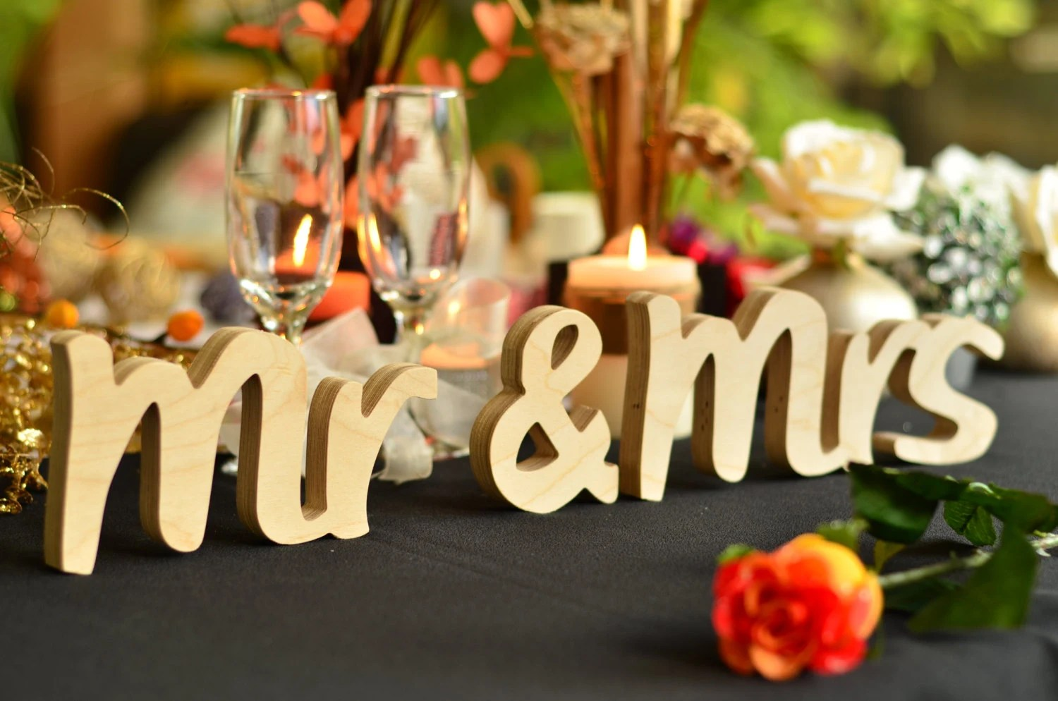 Bridal Shower Gift Mr & Mrs 3D Letters Cut From Wood Wedding