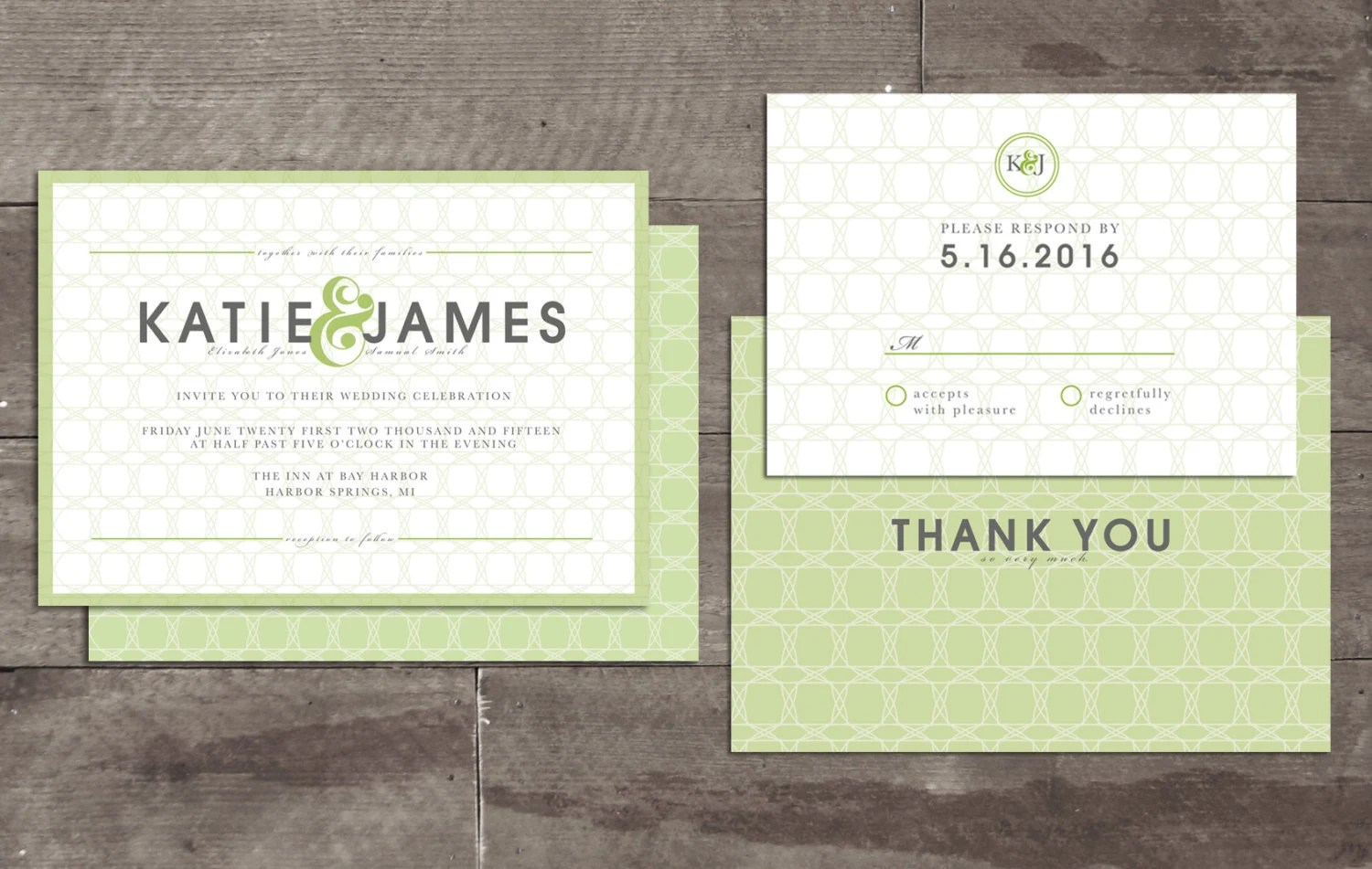 Ready To Print Wedding Invitations: Glamorous Green Customizable Wedding Invitation Package