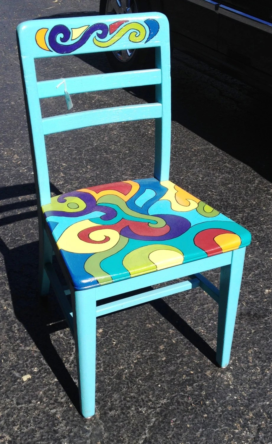 Items Similar To Rainbow Funky Vibrant Chair OOAK Uniquely