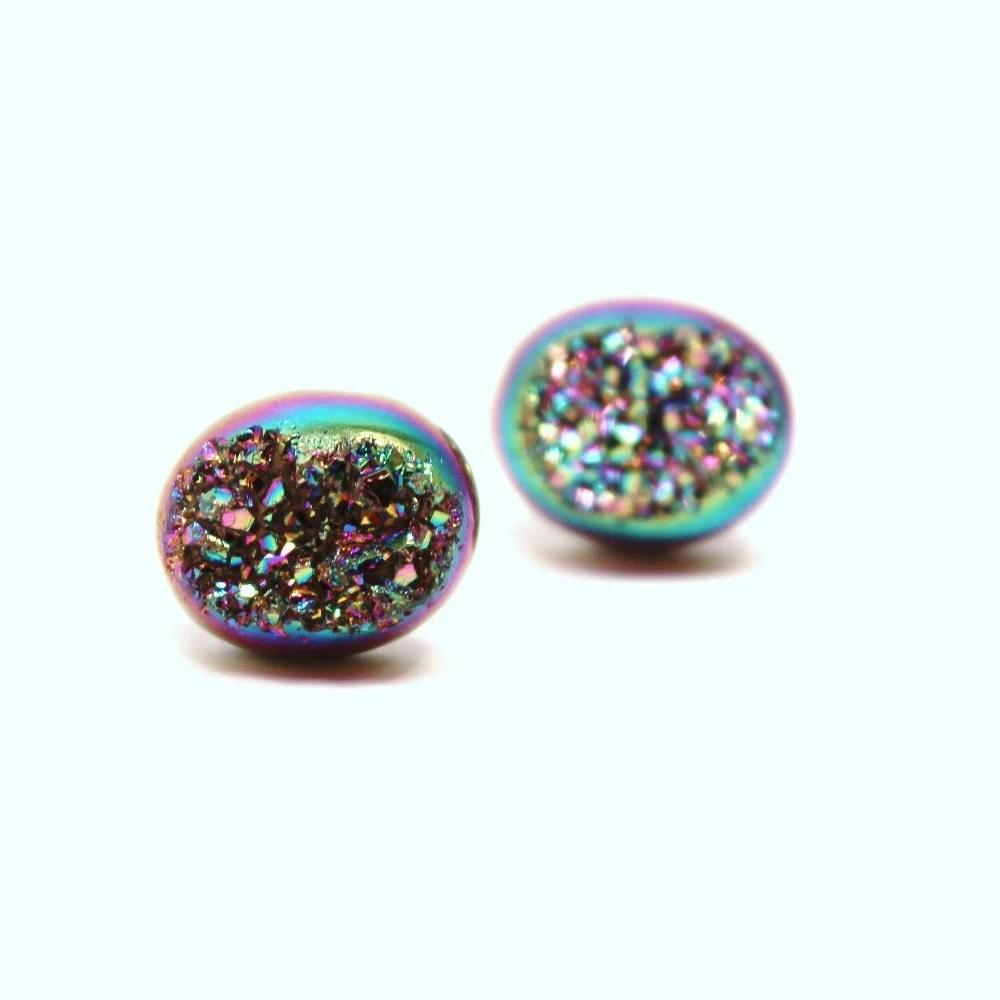 Rainbow Druzy Stud Earrings Metallic Peacock By Walkonthemoon
