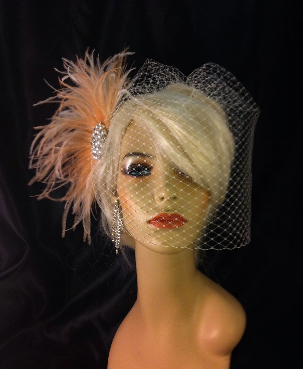 Rhinestone Pearl Bridal Feather Fascinator, Bridal Headpiece, Wedding Veil, Ivory, Full Birdcage Veil, Blush and Ivory